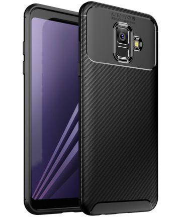 Samsung Galaxy A6 Siliconen Carbon Hoesje Zwart Hoesjes
