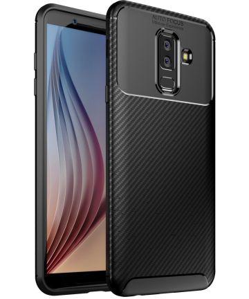Samsung Galaxy A6 Plus Siliconen Carbon Hoesje Zwart Hoesjes