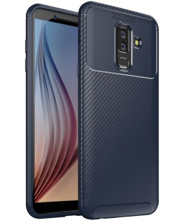 Samsung Galaxy A6 Plus Siliconen Carbon Hoesje Blauw Hoesjes
