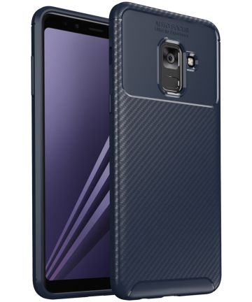 Samsung Galaxy A8 (2018) Siliconen Carbon Hoesje Blauw Hoesjes