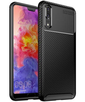 Huawei P20 Siliconen Carbon Hoesje Zwart Hoesjes