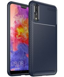 Huawei P20 Siliconen Carbon Hoesje Blauw