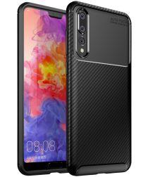Huawei P20 Pro Siliconen Carbon Hoesje Zwart