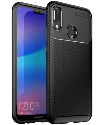 Huawei P20 Lite Siliconen Carbon Hoesje Zwart