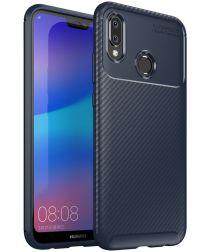 Huawei P20 Lite Siliconen Carbon Hoesje Blauw
