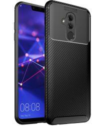 Huawei Mate 20 Lite Siliconen Carbon Hoesje Zwart