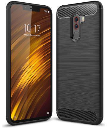 Xiaomi Pocophone F1 Brushed TPU Hoesje Zwart Hoesjes