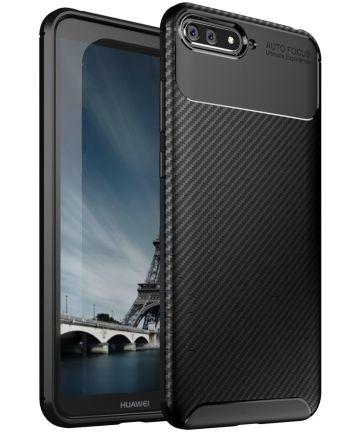 Huawei Y6 2018 Siliconen Carbon Hoesje Zwart Hoesjes