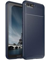 Huawei Y6 2018 Siliconen Carbon Hoesje Blauw