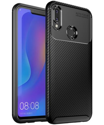 Huawei P Smart Plus Siliconen Carbon Hoesje Zwart Hoesjes