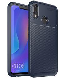 Huawei P Smart Plus Siliconen Carbon Hoesje Blauw