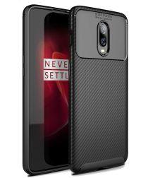 OnePlus 6T Siliconen Carbon Hoesje Zwart