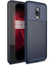 OnePlus 6T Siliconen Carbon Hoesje Blauw