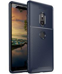 Sony Xperia XZ3 Siliconen Carbon Hoesje Blauw