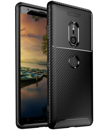 Sony Xperia XZ3 Siliconen Carbon Hoesje Zwart