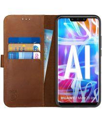 Rosso Deluxe Huawei Mate 20 Lite Hoesje Echt Leer Book Case Bruin