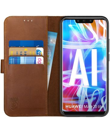 Rosso Deluxe Huawei Mate 20 Lite Hoesje Echt Leer Book Case Bruin Hoesjes