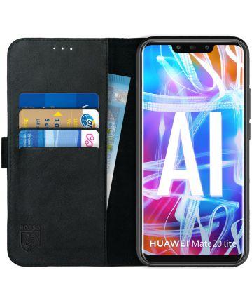 Rosso Deluxe Huawei Mate 20 Lite Hoesje Echt Leer Book Case Zwart Hoesjes