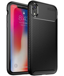 Apple iPhone XR Siliconen Carbon Hoesje Zwart