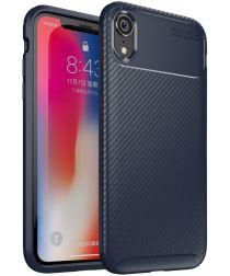 Apple iPhone XR Siliconen Carbon Hoesje Blauw