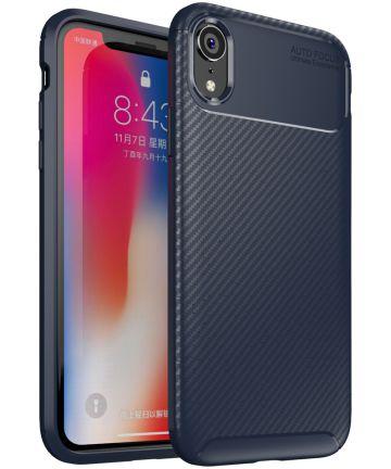 Apple iPhone XR Siliconen Carbon Hoesje Blauw Hoesjes