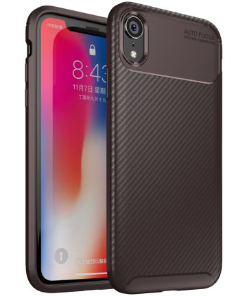 Apple iPhone XR Siliconen Carbon Hoesje Brons