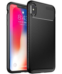 Apple iPhone XS Max Siliconen Carbon Hoesje Zwart