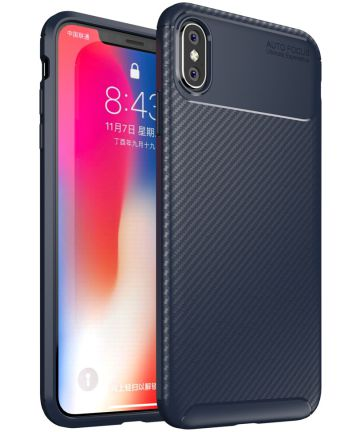 Apple iPhone XS Max Siliconen Carbon Hoesje Blauw