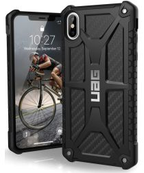 Urban Armor Gear Monarch Hoesje Apple iPhone XS Max Zwart Carbon Fiber