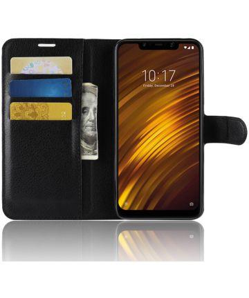 Xiaomi Pocophone F1 Lederen Wallet Stand Hoesje Zwart Hoesjes