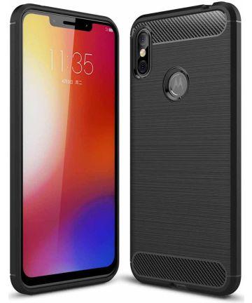 Motorola One Geborsteld TPU Hoesje Zwart Hoesjes