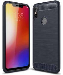 Motorola One Geborsteld TPU Hoesje Blauw
