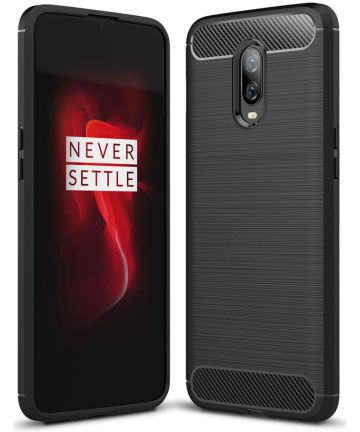 OnePlus 6T Geborsteld TPU Hoesje Zwart Hoesjes