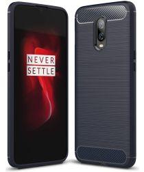 OnePlus 6T Geborsteld TPU Hoesje Blauw