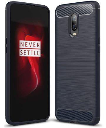 OnePlus 6T Geborsteld TPU Hoesje Blauw Hoesjes