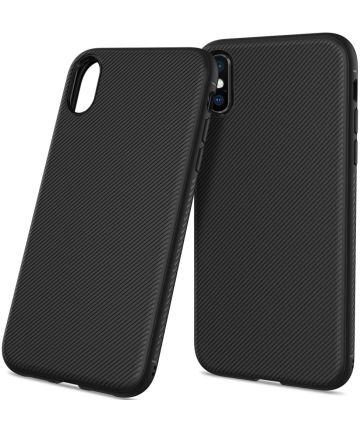 Apple iPhone XS Max Twill Slim Texture Back Cover Zwart