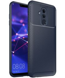 Huawei Mate 20 Lite Siliconen Carbon Hoesje Blauw