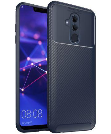 Huawei Mate 20 Lite Siliconen Carbon Hoesje Blauw Hoesjes
