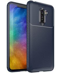 Xiaomi PocoPhone F1 Siliconen Carbon Hoesje Blauw