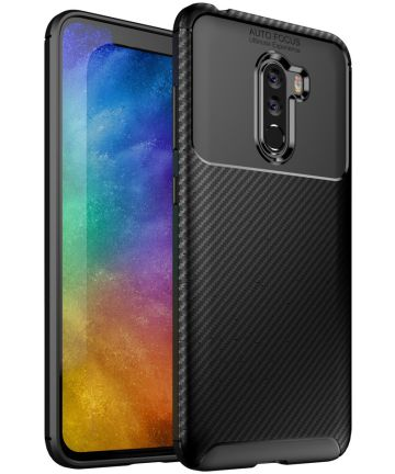 Xiaomi PocoPhone F1 Siliconen Carbon Hoesje Zwart