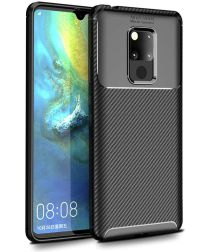Huawei Mate 20 Siliconen Carbon Hoesje Zwart