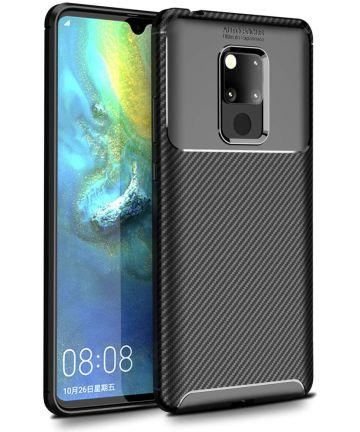 Huawei Mate 20 Siliconen Carbon Hoesje Zwart Hoesjes