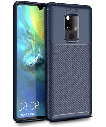 Huawei Mate 20 Siliconen Carbon Hoesje Blauw