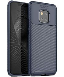 Huawei Mate 20 Pro Siliconen Carbon Hoesje Blauw