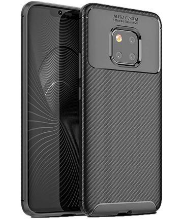 Huawei Mate 20 Pro Siliconen Carbon Hoesje Zwart Hoesjes
