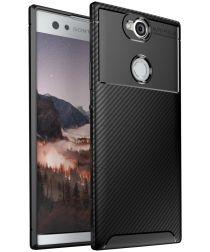 Sony Xperia XA2 Plus Siliconen Carbon Hoesje Zwart