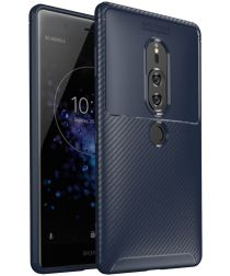 Sony Xperia XZ2 Premium Siliconen Carbon Hoesje Blauw