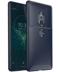 Sony Xperia XZ2 Siliconen Carbon Hoesje Blauw