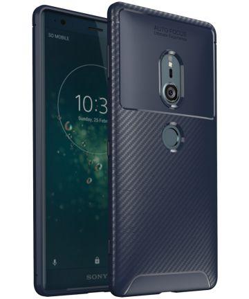 Sony Xperia XZ2 Siliconen Carbon Hoesje Blauw Hoesjes