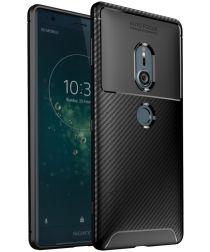 Sony Xperia XZ2 Siliconen Carbon Hoesje Zwart